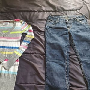 girl arizona jeans 10 1/2 and justice top
